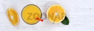 Orangensaft Orangen Saft Orange Fruchtsaft von oben Banner Frucht Früchte