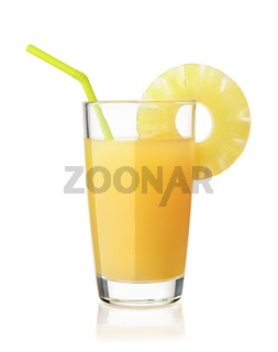 Front view of pineapple juice glass