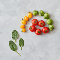 Composition of tomatoes and spinach leaves