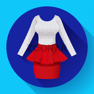 Fashionable womens clothing dress with Baska red skirt and lacy blouse
