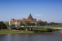 Dresden. Saxon State Chancellery on the Elbe river.