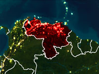 Map of Venezuela at night