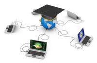 laptops and  globe