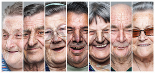 Happy old people. Portrait collage of delighted
