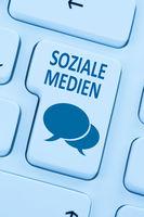 Soziale Medien soziales Netzwerk Freundschaft Kontakte Internet Computer online blau web