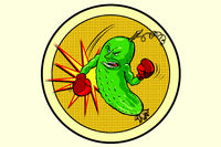 strong cucumber, vegetarian emblem and healthy diet