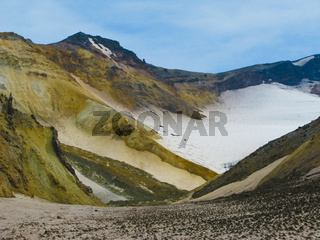 Panorama view inside crater of Mutnovsky volcano, Kamchatka, Russia