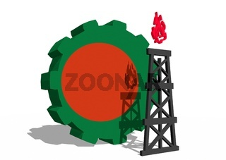Gear with gas rig simple icon, textured by Bangladesh flag