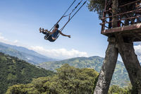 Banos, Ecuador - December 12, 2017: The Swing At The End Of The World Located At Casa Del Arbol, The Tree House In Banos De Aqua Santa, Ecuador, South America