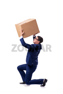 Businessman lifting box isolated on white