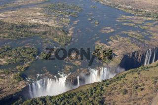 Luftaufnahme von den Victoriafaellen, Simbabwe