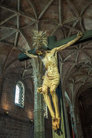 Christ Crucified sculpture in Jeronimos Monastery, Lisbon, Portugal