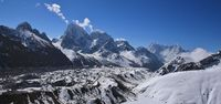 Gokyo valley in spring. Ngozumpa glacier and high mountains Cholatse, Kangtega, Thamserku and others.