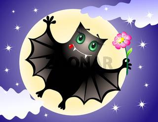 Cute bat congratulating you with halloween