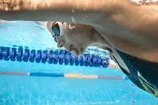 Close-up photo of underwater swimmer