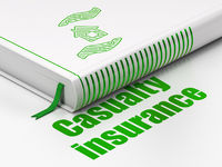 Insurance concept: book House And Palm, Casualty Insurance on white background