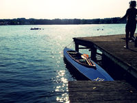 lake and boats in summer