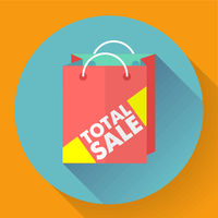Total sale shopping bag. Flat style icon