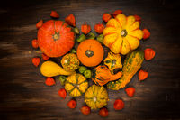Assorted pumpkins for Thanksgiving and Halloweenin heart shape