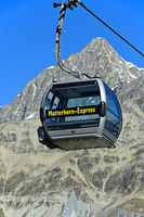 Leere Gondel der Seilbahn Matterhorn Express, Zermatt, Wallis, Schweiz