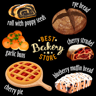 Bakery shop vector icons. Baked sweets icons