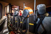 Firefighter equipment in a fire truck with walkie talkie