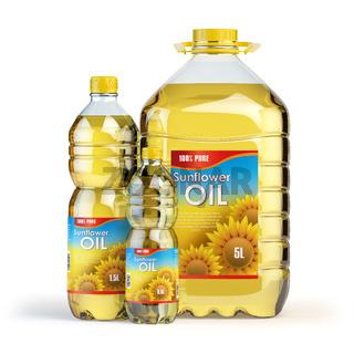 Sunflower oil in plastic bottles isolated on white.