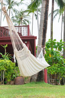Hammock hung on palm trees for relax vacation