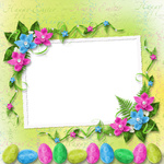 Pastel background with colored eggs and orchids to celebrate Easter