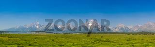 Panorama landscape - Teton mountains in Wyoming, USA.