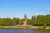 Lenin statue on the bank of the Moscow Canal