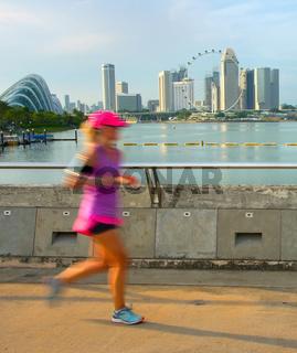 Running in Singapore at sunset