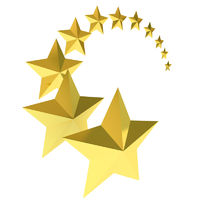 Eleven gold stars on white background
