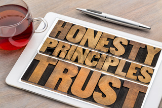 honesty, principles and trust word abstract ontablet