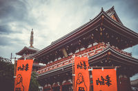 Kaminarimon gate and pagoda in Senso-ji temple, Tokyo, Japan