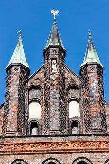 Detail des Holstentores, Lübeck, Deutschland