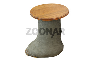 traditional african hunting seat made from elephant foot