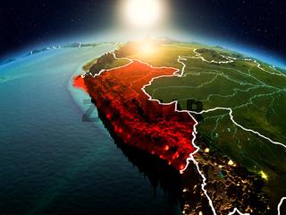 Peru in sunrise from orbit