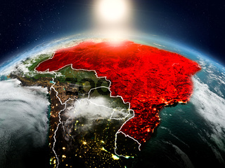 Brazil in sunrise from orbit