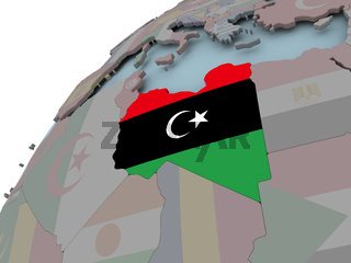 Map of Libya with flag