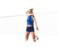 Young woman volleyball player isolated (version with net)