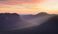Blue Mountains and dawn red skies