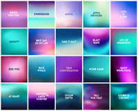 BIG set of 20 square blurred purple pink turquoise backgrounds. With various quotes
