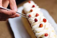 Female hands decorating cake