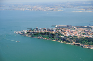 The air view of Cacilhas on the south bank of the river Tagus. Almada. Lisbon. Portugal