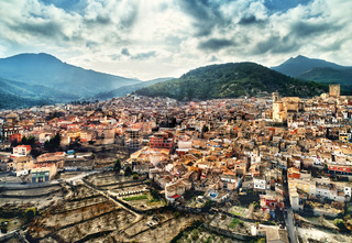 Aerial view of Moratalla town. Moratalla is a small town in Region of Murcia. Southeastern Spain