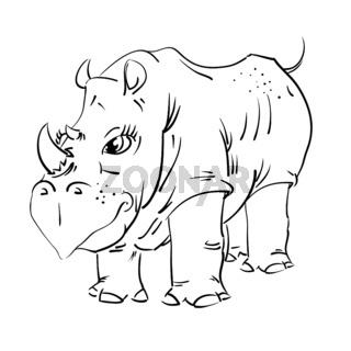 Big african cartoon rhinoceros