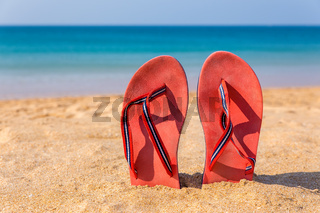Two red slippers upright in sand of beach