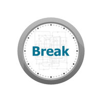 The word break on digital screen, business concept . Abstract wall clock isolated on a white background