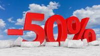 -50% on broken ice